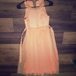 Pink beaded graduation dress